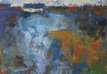 Andrew Hood Original Mixed Media Painting Cottage Near Torrington North Devon
